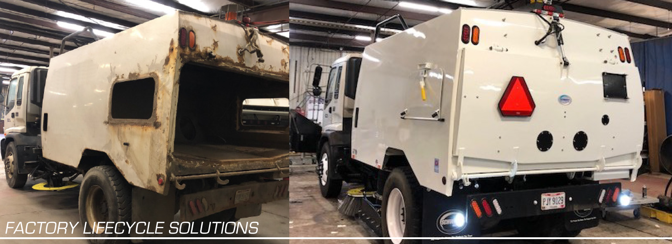 Before and after image of refurbished air sweeper
