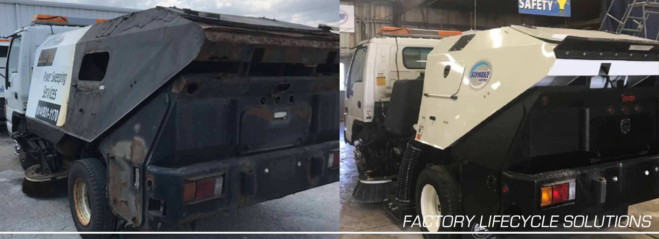 Before and after image of refurbished sweeper