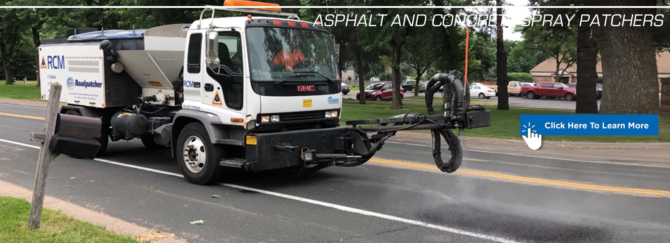 Aspahlt and concrete spray patcher banner graphic